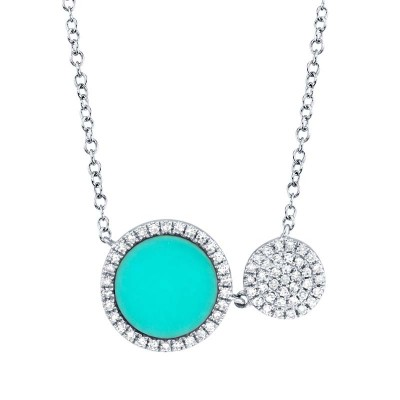 0.15ct Diamond & 0.84ct Composite Turquoise 14k White Gold Circle Necklace