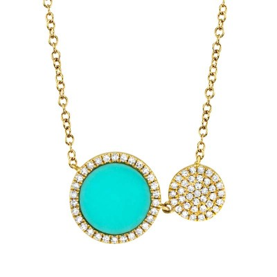 0.15ct Diamond & 0.84ct Composite Turquoise 14k Yellow Gold Circle Necklace