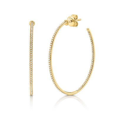 0.36ct 14k Yellow Gold Diamond Hoop Earring