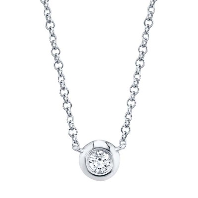 0.05ct 14k White Gold Diamond Bezel Necklace