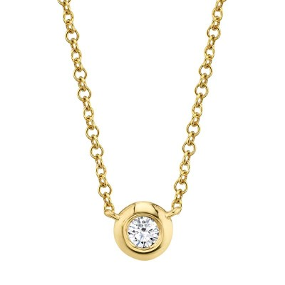 0.05ct 14k Yellow Gold Diamond Bezel Necklace