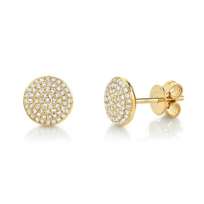 0.36ct 14k Yellow Gold Diamond Pave Circle Stud Earring