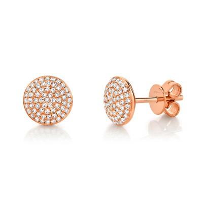 0.36ct 14k Rose Gold Diamond Pave Circle Stud Earring