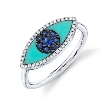 0.09ct Diamond & 0.62ct Blue Sapphire & Composite  Turquoise 14k White Gold Eye Ring