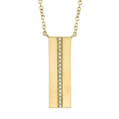 0.06ct 14k Yelllow Gold Diamond Bar Necklace