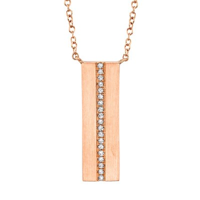 0.06ct 14k Rose Gold Diamond Bar Necklace