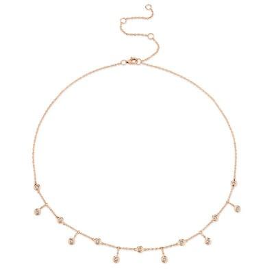 0.34ct 14k Rose Gold Diamond Shaker Necklace