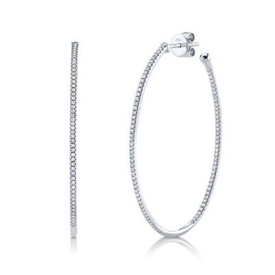 0.46ct 14k White Gold Diamond Oval Hoop Earring
