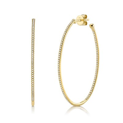 0.46ct 14k Yellow Gold Diamond Oval Hoop Earring