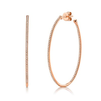 0.46ct 14k Rose Gold Diamond Oval Hoop Earring