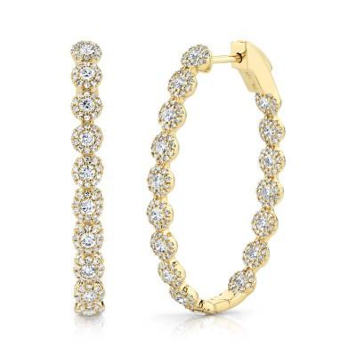 2.05ct 14k Yellow Gold Diamond Oval Hoop Earring
