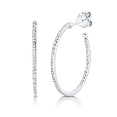 0.26ct 14k White Gold Diamond Oval Hoop Earring