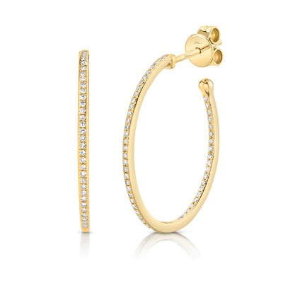 0.26ct 14k Yellow Gold Diamond Oval Hoop Earring