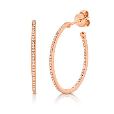 0.26ct 14k Rose Gold Diamond Oval Hoop Earring