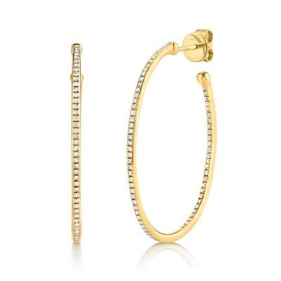 0.35ct 14k Yellow Gold Diamond Oval Hoop Earring
