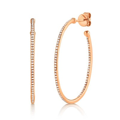 0.35ct 14k Rose Gold Diamond Oval Hoop Earring