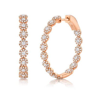 1.58ct 14k Rose Gold Diamond Hoop Earring