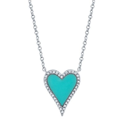 0.09ct Diamond & 0.69ct Composite Turquoise 14k White Gold Heart Necklace