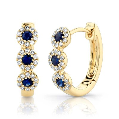 0.15ct Diamond & 0.30ct Blue Sapphire 14k Yellow Gold Huggie Earring