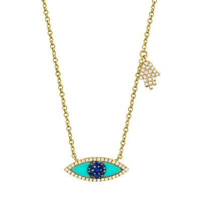 0.13ct Diamond & 0.38ct Blue Sapphire & Composite Turquoise 14k Yellow Gold Eye & Hamsa Necklace