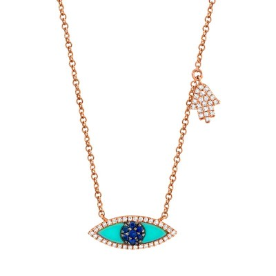 0.13ct Diamond & 0.38ct Blue Sapphire & Composite Turquoise 14k Rose Gold Eye & Hamsa Necklace