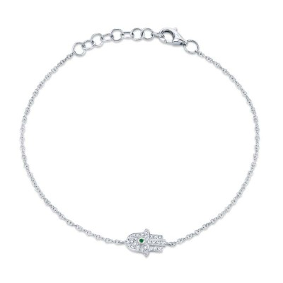 0.08ct Diamond & 0.01ct Emerald 14k White Gold Hamsa Bracelet