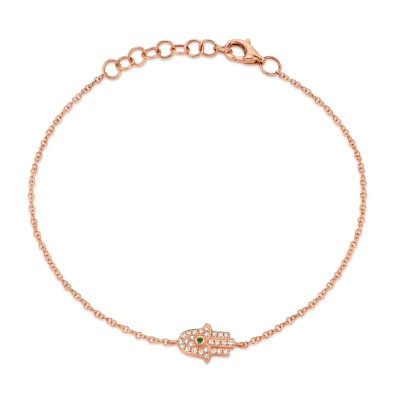 0.08ct Diamond & 0.01ct Emerald 14k Rose Gold Hamsa Bracelet