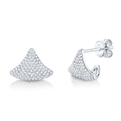 0.49ct 14k White Gold Diamond Pave Earring