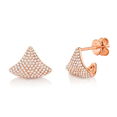 0.49ct 14k Rose Gold Diamond Pave Earring