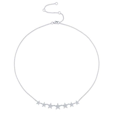 0.35ct 14k White Gold Diamond Star Necklace