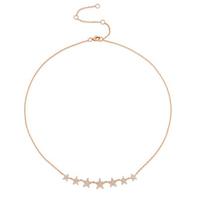 0.35ct 14k Rose Gold Diamond Star Necklace