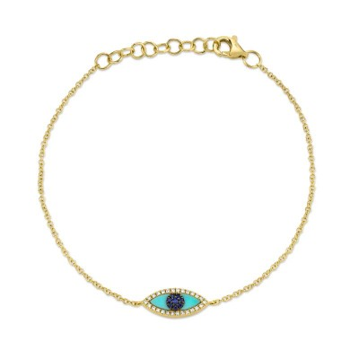 0.06ct Diamond & 0.20ct Blue Sapphire & C. Turquoise 14k Yellow Gold Eye Bracelet