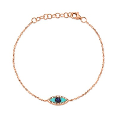 0.06ct Diamond & 0.20ct Blue Sapphire & C. Turquoise 14k Rose Gold Eye Bracelet