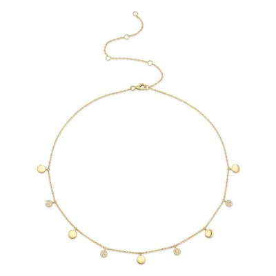 0.12ct 14k Yellow Gold Diamond Pave Circle Choker Necklace