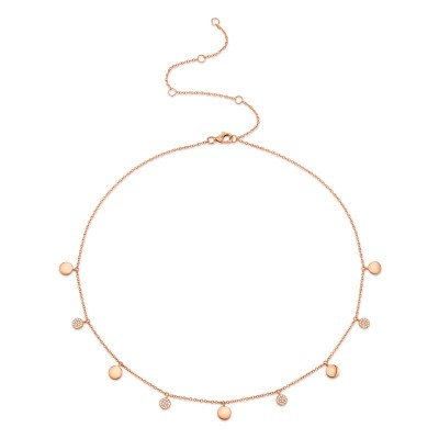 0.12ct 14k Rose Gold Diamond Pave Circle Choker Necklace