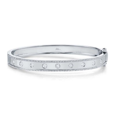0.97ct 14k White Gold Diamond Bangle