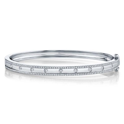0.62ct 14k White Gold Diamond Bangle