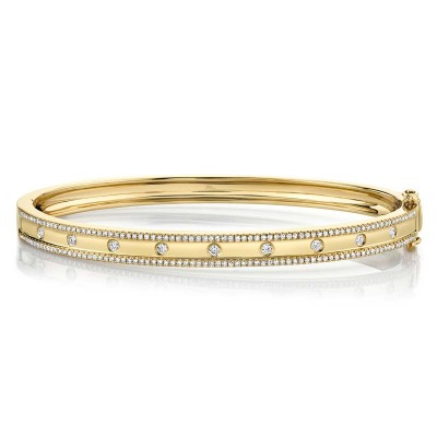 0.62ct 14k Yellow Gold Diamond Bangle