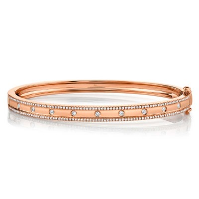 0.62ct 14k Rose Gold Diamond Bangle
