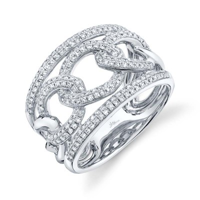 0.61ct 14k White Gold Diamond Lady's Link Ring