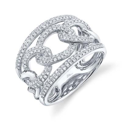0.61ct 14k White Gold Diamond Lady's Link Ring