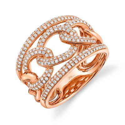 0.61ct 14k Rose Gold Diamond Lady's Link Ring