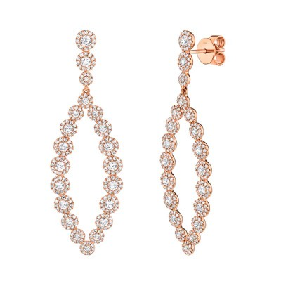 2.95ct 14k Rose Gold Diamond Earring