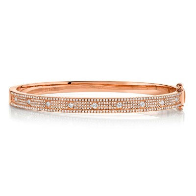 1.01ct 14k Rose Gold Diamond Bangle