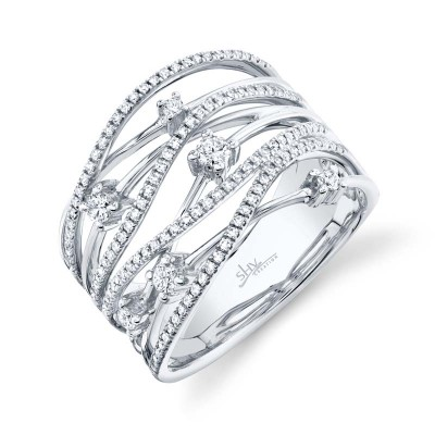 0.49ct 14k White Gold Diamond Bridge Ring