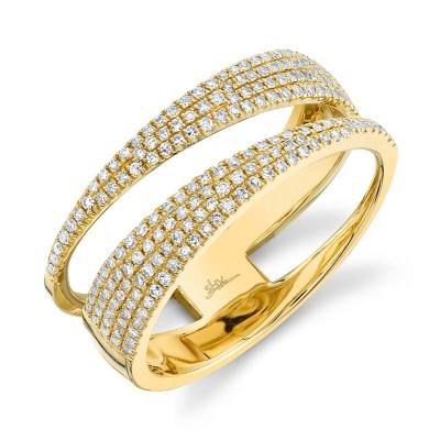 0.45ct 14k Yellow Gold Diamond Pave Lady's Ring