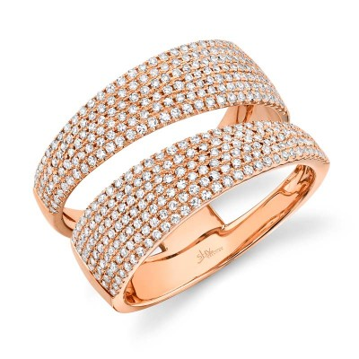 0.81ct 14k Rose Gold Diamond Pave Lady's Ring