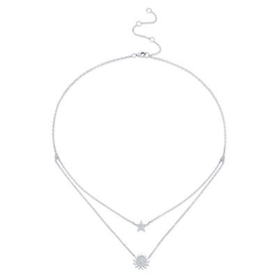 0.14ct 14k White Gold Diamond Pave Sun & Star Necklace
