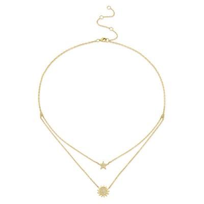 0.14ct 14k Yellow Gold Diamond Pave Sun & Star Necklace