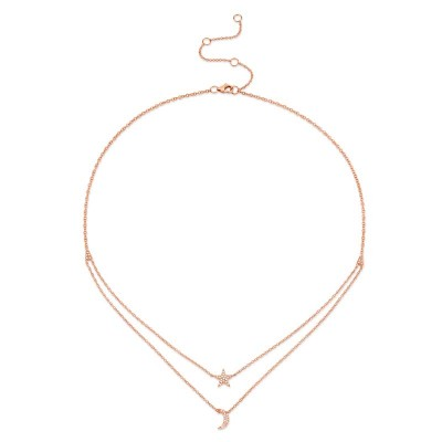 0.09ct 14k Rose Gold Diamond Pave Moon & Star Necklace